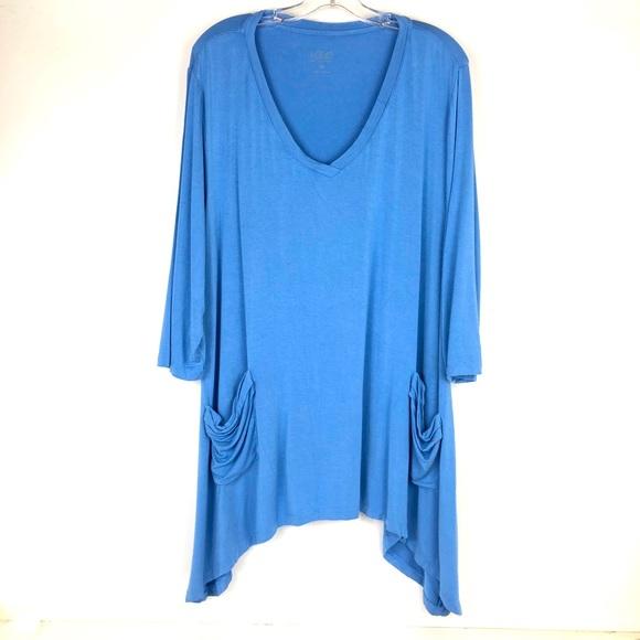 LOGO v neck tunic top stretch high low 2X blue